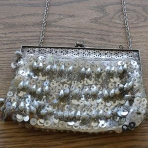 Vintage Silver Beaded Sequin Clutch with Chain
